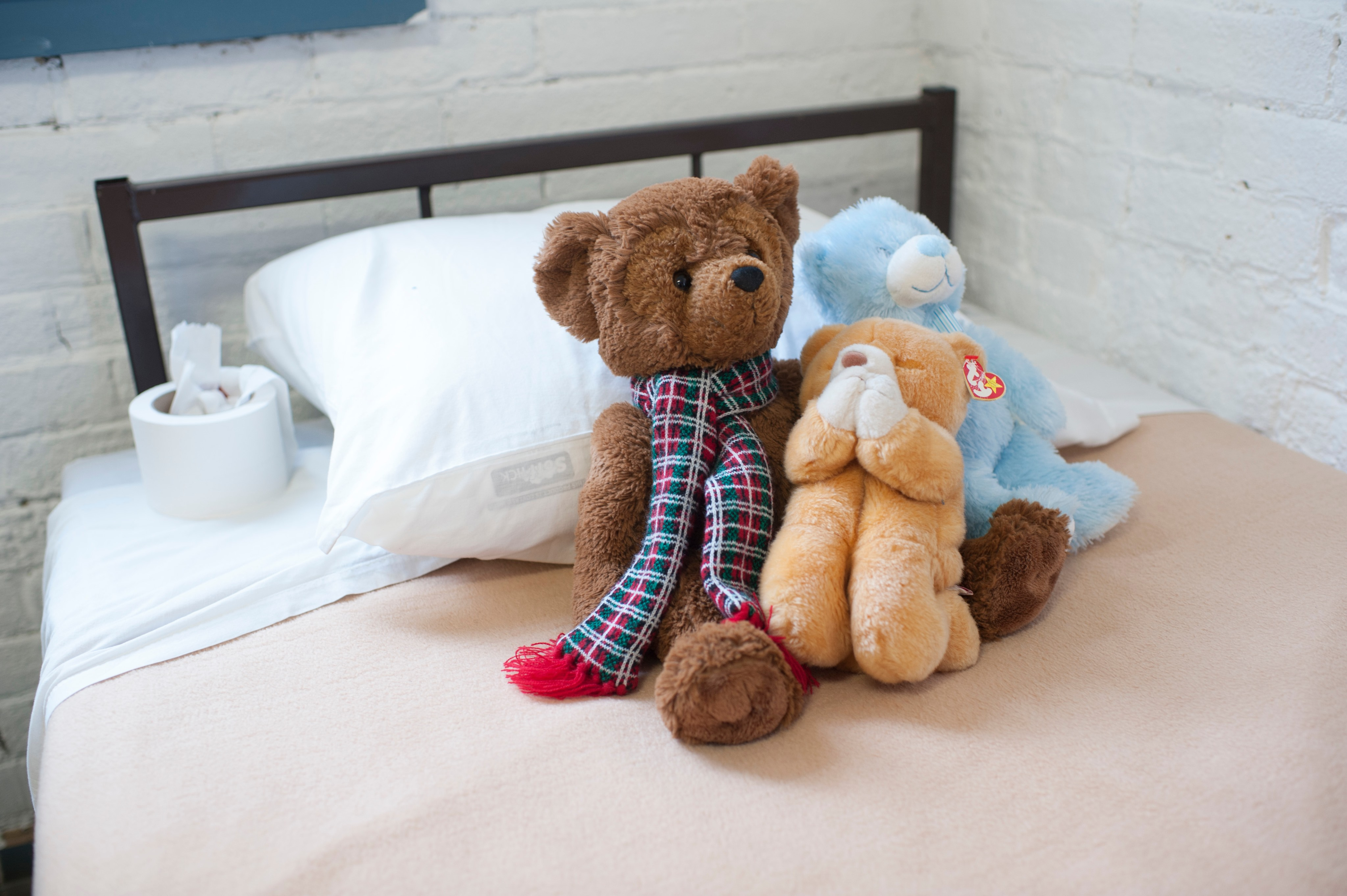 teddy bears on bed
